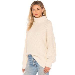 Free People Chunky Cream Turtleneck Sweater L